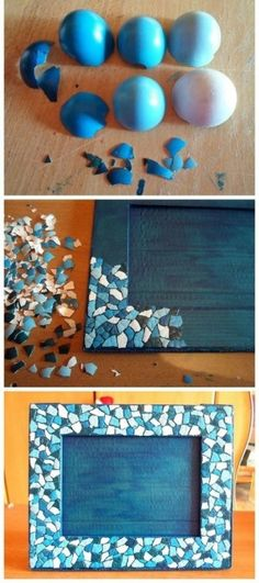 Decoration of frame with egg shells! DIY and Crafts Diy And Crafts, Craft Projects, Crafts For Kids, Projects To Try, Arts And Crafts, Paper Crafts, Do It Yourself Projects, Eggshell Mosaic, Egg Shell Art