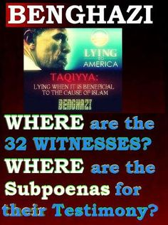 """The witnesses have not been interviewed. Their names have been changed and they have been """"spirited"""" away by the Obama administration.  Demand Action!"""