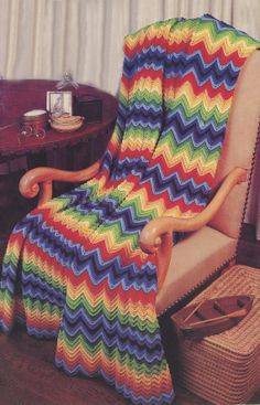 Chevron D-147 Afghan Vintage Crochet Pattern Automatic PDF Download