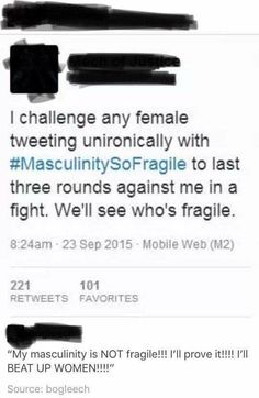 """The fact that men go STRAIGHT to """"if you want equality, I should be able to sock you in the fucking face with no repercussions"""".it says a lot. Tumblr Funny, Funny Memes, Hilarious, Intersectional Feminism, Patriarchy, Faith In Humanity, Real Talk, In This World, Equality"""