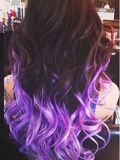 wavy brown hairstyle with purple ombre color ideas 2015