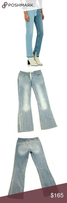 """UNIQUE ALICE + OLIVIA HOOK & EYELET JEANS UNIQUE ALICE + OLIVIA HOOK & EYELET JEANS  Pre-Loved/Image ONLY for Similarity SZ 4 Cotton Blend SO UNIQUE with the Hook & Eye as the Front Fly Closure and The Side Split on Outer Leg.  Built in Back Leg Panel for More Detail & Support. Couldn't Find an Actual Pics so Photo is Similiar  Alice + Olivia Have High Quality Items & This is One of Them Approx Meas;    Waist   15""""    Inseam   30""""    Rise   8 1/2""""    Leg Opening   8 1/2""""  ORIG  $355  Meas R…"""