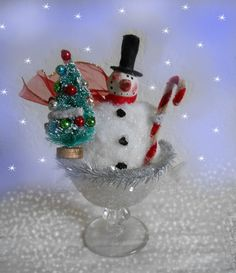 Christmas Snowman Bottle Brush Tree Ornaments & Candy Cane In Vtg Desert Cup