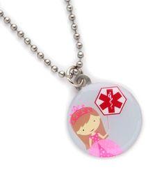 Brunette Princess Medical ID Necklace from Lauren's Hope