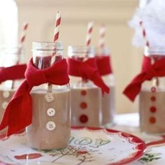 Cute idea for a Christmas breakfast Remember to visit www. Lally-Lynne Conaty WE HAVE TO MAKE THESE. except for those shakes i posted before. Bottles are easy to find at michaels Christmas breakfast Christmas Cookie Exchange, Christmas Brunch, Christmas Breakfast, Christmas Drinks, Noel Christmas, Christmas Goodies, Christmas Morning, Winter Christmas, Xmas