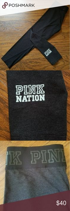 "Limited Edition VS Pink Nation Mesh Yoga Leggings NEW IN PCKG Size Small Color - Dark Grey / Mint (Pink Nation Logo) Mesh Design on ankle!  PINK Nation, these are just for you! Comfy cotton leggings with cool mesh details.  Limited time only—get 'em before they're gone!  (They're gone...)  PINK Nation Exclusive Smooth and stretchy fabric Mesh details 23"" inseam Ankle length Logo Elastic Waistband Imported cotton/polyester/spandex  Size SMALL  Bundle and Save  Please chk out my other listings…"