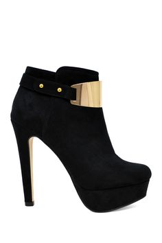 Angela Gold Trim Curved Heel Bootie