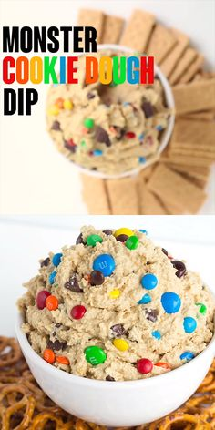 dessert recipes Monster Cookie Dough Dip - This monster cookie dough dip recipe thats inspired by the monster cookie. It has peanut butter, oats, chocolate chips, and candies. Its an easy dessert dip recipe for any party and tastes great with pretzels! Dessert Dips, Quick Dessert Recipes, Sweet Recipes, Recipes For Sweets, Dip Recipes For Parties, Easy No Bake Recipes, Super Bowl Dessert Ideas, Dessert Cheese Ball, Easy Desserts For Kids