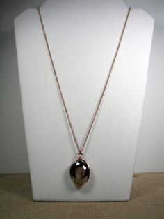 Fossil Brand Gunmetal Glamour Rose Gold Hematite Oval Pendant Necklace MSRP $58...Only $37.99 with free shipping!