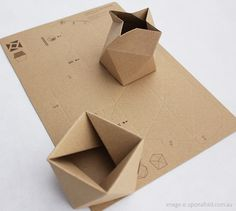 Thread Lid | From two sheets of cardboard a spiral form can be folded to create a screw-like lid and base. Once joined they fit together like a glove and lock into place