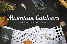 Mountain Outdoor Vintage Logo Kit by LovePowerDesigns on @creativemarket