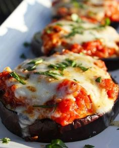 Ingredients:  1 Jar organic red sauce (spaghetti sauce) 2 large eggplants, sliced into 1 inch discs 1/4 cup onion Chopped 1 large red, yellow, or orang