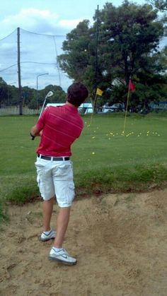 Ball is in the air. Golf Academy, Bunker, Mario, Pride, Asylum