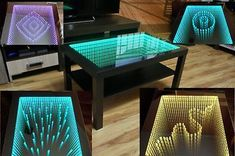 As a result, the visibility of the strip disappears and enriches the infinity effect in the table. For even better effect the table also uses the latest driver for RGB LED strip - its functions are described below. Mirrored Coffee Tables, Modern Coffee Tables, Infinity Mirror Table, Office Table Design, Do It Yourself Furniture, Hookah Lounge, Mirror Effect, Led Mirror, Black Table