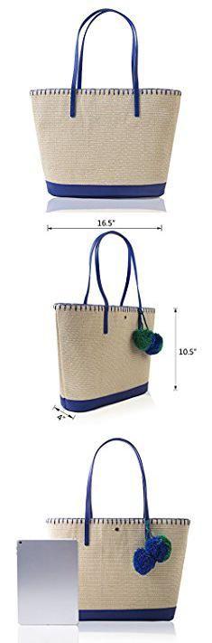Straw Tote Handbags. The Lovely Tote CO. Women's Pom Pom Tote Natural / Blue Mix.  #straw #tote #handbags #strawtote #totehandbags