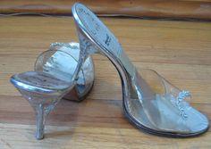 1950s Lucite rhinestone Springolators mules heels 8, 8.5