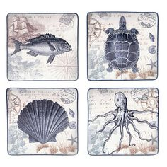 Bring a taste of the ocean to your decor with the Coastal Postcard dinner plates, featuring an assorted vintage aquatic animal motif. Refined and timeless, these square ceramic plates are emblazoned w