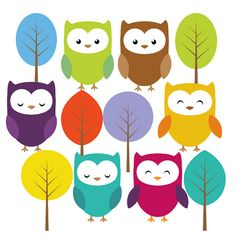 Owl In Tree Clip Art | Cute owl and trees clip art set | Flickr - Photo Sharing!