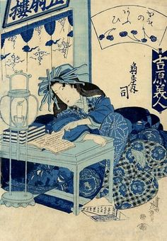 Reading by candlelight. Keisai Eisen (1790-1848)