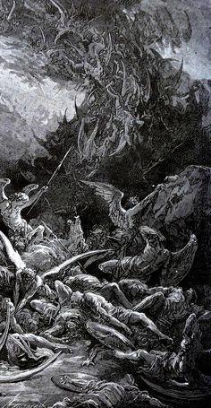 nigra-lux DOR Gustave Illustration for John Milton s Paradise Lost detail 1866 Engraving Ed Orig Lic Ed Dark Art Illustrations, Illustration Art, Dark Artwork, Metal Artwork, Satanic Art, Arte Obscura, Occult Art, Biblical Art, Creepy Art