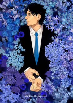 Two of my favorite things^.^ Blue roses(flowers) & Dick Grayson!