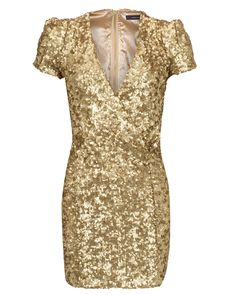gold sequence v-neck dress... I want something like this for Christmas day