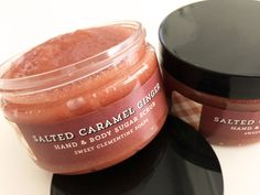 Salted Caramel Ginger Hand and Body Sugar Scrub  SALTED CARAMEL GINGER: Rich buttery cream and caramelized sugar are given a twist with raw ginger and Himalayan sea salt. A perfect melding of decadent sweetness and peppery ginger! Made with skin nourishing aloe vera, to detoxify and hydrate skin, this hand and body sugar-based exfoliating treatment makes quick work of sloughing off dull, dry skin. None of the greasy feeling you get with oil-based scrubs or any of that waxy residue left…