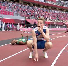 Norway's Karsten Warholm after winning Gold 2020 Summer Olympics, Tokyo Olympics, Norwegian People, Men's Triathlon, Hurdles, World Records, Norway, Rio, Competition