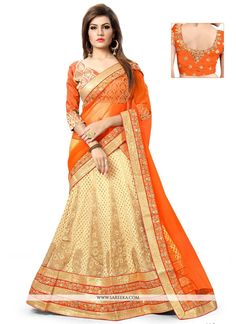 Everyone will admire you when you wear this clad to elegant affairs. Add grace and charm to your appearance in this beautiful beige and orange art silk and net a line lehenga choli. You can see some f...