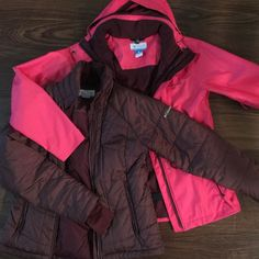 Columbia brand winter jackets You can wear the jackets separately or together as one, the maroon jackets can be worn under and zipped into the hot pink to make a very warm and dry jacket. (For skiing or when it's raining). The hot pink can be worn as a rain coat. This is a very beautiful and flattering two piece set that will NOT disappoint! They are sold together. Columbia Jackets & Coats Puffers