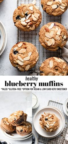 These Healthy Blueberry Muffins are soft, moist and bursting with juicy sweet blueberries in every bite! They are made with wholesome ingredients that are gluten-free, refined sugar-free, paleo-friendly and the perfect wholesome breakfast snack or dessert. A simple pantry-friendly one bowl recipe that is freezer-friendly and perfect for meal prep and packing into lunchboxes. #blueberries #glutenfree #lowcarb #paleo #glutenfree #blueberrymuffins