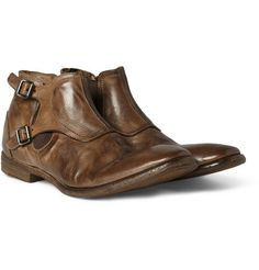 Alexander McQueen Buckled Worn-Leather Chelsea Boots (may be for men, but I'd love to wear them)