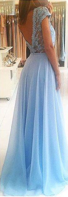 Appliques Backless A-line Chiffon Prom Dresses