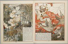 Het leelijke jonge eendje, pag. 16-7: naar het sprookje / van H. C. Andersen ; geteekend en gelithographeerd door T. van Hoytema,Amsterdam, C.M. van Gogh, 1893