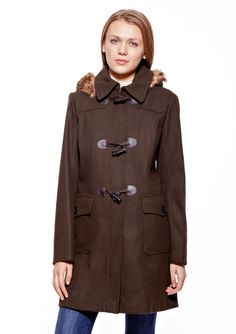 Wool Blend Toggle Coat Long wool-blended coat; Pointed collar with sliding clasp closure; Removable hood features faux fur trim; Padded shoulders; Long sleeves; Front flap pockets with button closure; Back button-tab detail on waist; Faux leather trim detailing on front; Hidden zipper with snap and toggle closure; Fully lined FauxfurWomen #Outerwear