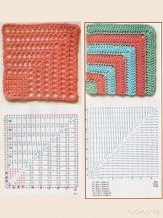 Crochet Shrug Pattern, Crochet Square Patterns, Granny Square Crochet Pattern, Crochet Diagram, Crochet Squares, Crochet Designs, Crochet Wallet, Crochet Mat, Crochet Pillow