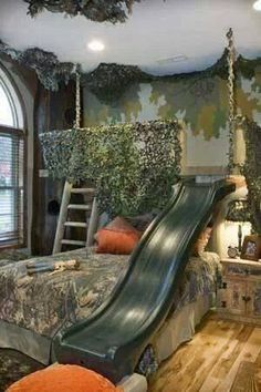 Camo bed with a bunk and a slide! #camobedding