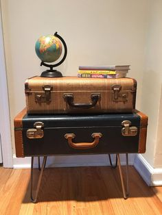 Vintage suitcase end table nightstand with by TheFunkieTrunkie