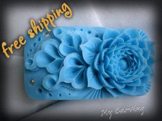 Thai Carving Lotus soap, hand carved bar soap, blue soap carved Lotus, lotus carving flower, Blue soap flower figurine, FREE SHIPPING