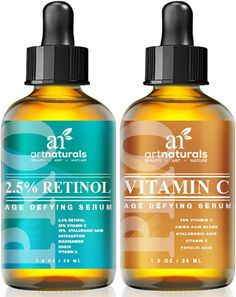 Art Naturals Vitamin C (29 ml) & Retinol Serum (29 ml), Bestes Anti-Falten & Anti-Aging Serum für Gesicht & Sensible Haut - Klinische Stärke mit Naturreinen Wirkstoffen | Bestens geeignet zur Anwendung über Nacht Gegen Augenringe | Für Männer & Frauen