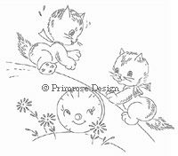 Primrose Design   Vintage   Embroidery Pattern   Cute as a Kitten