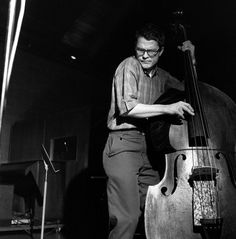 Charlie Haden during the recording of Ornette Coleman's The Empty Foxhole, September 9 1966 – Rudy Van Gelder Studios, Englewood Cliffs, New Jersey (photo by Francis Wolff) Jazz Artists, Jazz Musicians, Soul Music, My Music, Charlie Haden, Francis Wolff, Ornette Coleman, Double Bass, Instruments