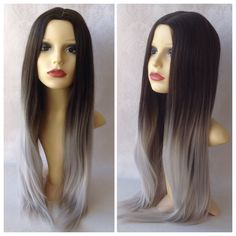 Image of Silver Ombre, Dark Brown Grey Ombre Dipdye Gothic Lolita Cosplay Wig