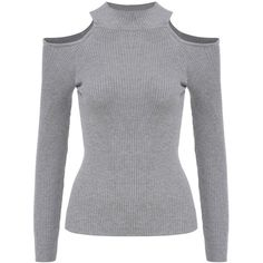 Mock Neck Open Shoulder Grey Sweater (97 DKK) ❤ liked on Polyvore featuring tops, sweaters, grey, grey pullover sweater, grey long sleeve sweater, open shoulder sweater, long sleeve pullover sweater and gray pullover sweater