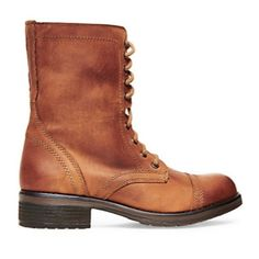 Steve Madden lace up boots Steve madden's bestselling TROOPA boot.  Featuring a chunkier rugged sole, comfy lining, and leather detailing.  Lace it up all the way or tie it low for a looser fit around the ankle.  You'll never want to take them off.  Leather upper material Leather lining Rubber sole 1.5 inch heel height Welt, lug heel 12 inch shaft circumference 7.75 inch shaft height Steve Madden Shoes Combat & Moto Boots