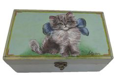 Chabby chic wooden box - The Kitten. Wooden box. Hand painted  Available at www.romanticdecorativeart.co.uk