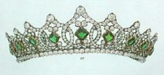 A diamond and emerald tiara given by Henri Orleans of France to his niece Helene. Designed as at least nine interlocking diamond motifs, each with a central emerald, set as a lozenge shape, and topped...