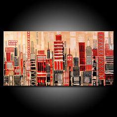 Modern URBAN Abstract Painting ORIGINAL 48x24 Canvas Acrylic Black Grey Red City Fine Art by Federico Farias. $330.00, via Etsy.