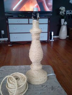 Old lamp + thick twine + hot glue gun = New Natural Fiber basket lamp! Perfect for a nautical or beachy chic theme!