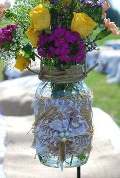 Mason Jar Vases: Burlap & Lace flowers with pearls and twine